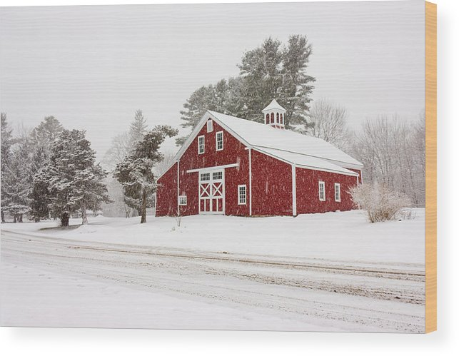 Wood Print featuring the photograph Red Barn Winterscape by Benjamin Williamson