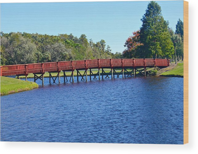 Bridge Wood Print featuring the photograph Red Bridge by Denise Mazzocco