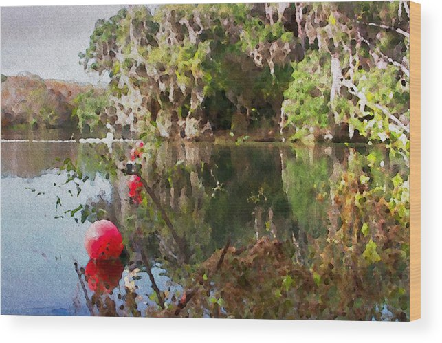 Florida Springs Blue Buoys Scenic Old Alicegipsonphotographs Wood Print featuring the photograph Red Buoys by Alice Gipson