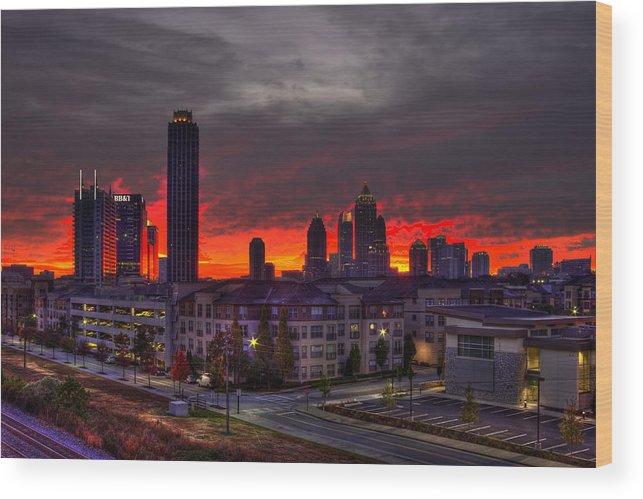 Reid Callaway Sunrise Midtown Atlanta Wood Print featuring the photograph Red Sky Sunrise Midtown Atlanta by Reid Callaway