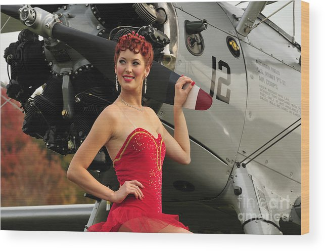 Pin-up Girls Wood Print featuring the photograph Redhead Pin-up Girl In  1940s