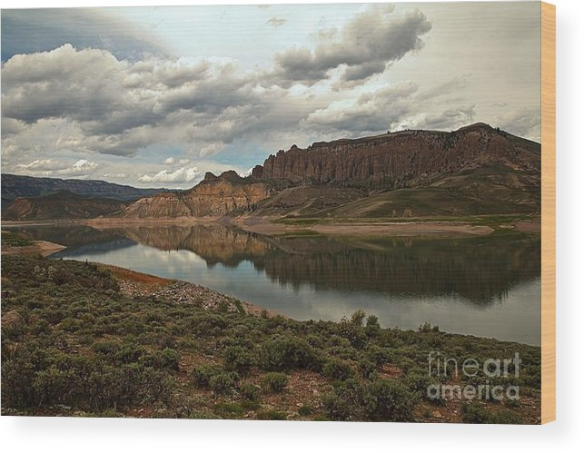 Curecanti Wood Print featuring the photograph Reflections In Blue Mesa by Adam Jewell