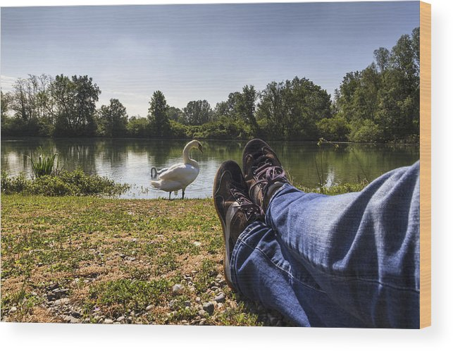 Leg Wood Print featuring the photograph Relax At River by Pier Giorgio Mariani