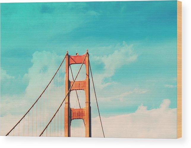 San Francisco Wood Print featuring the photograph Retro Golden Gate - San Francisco by Melanie Alexandra Price