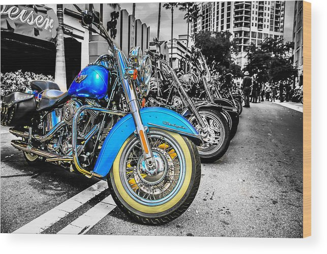 American Wood Print featuring the photograph Retro Harleys by Chris Smith