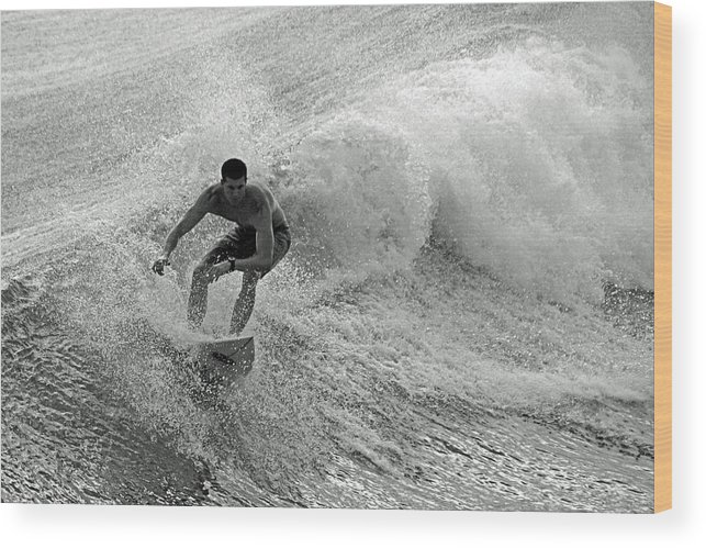 Surfing Wood Print featuring the photograph Riding It In by Thomas Fouch