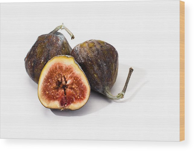 Fresh Wood Print featuring the photograph Ripe Figs Isolated by Frank Gaertner