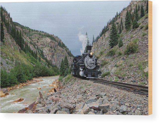 Steam Train Photographs Wood Print featuring the photograph River Run by Ken Smith