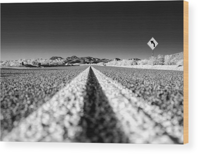 Landscape Wood Print featuring the photograph Road In The Desert by Alyaksandr Stzhalkouski