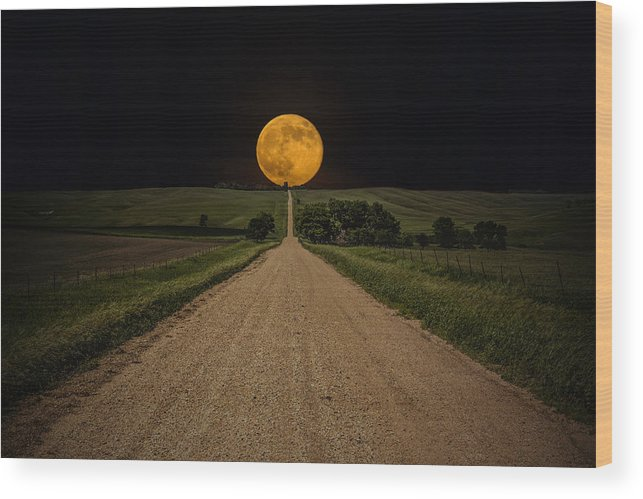Road To Nowhere Wood Print featuring the photograph Road To Nowhere - Supermoon by Aaron J Groen