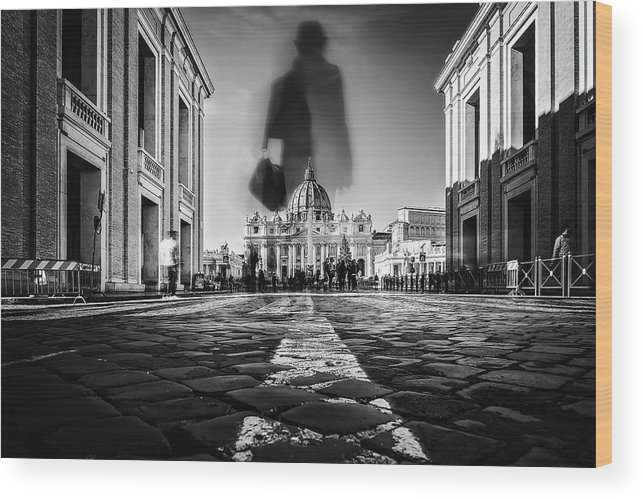Rome Wood Print featuring the photograph Road To St.peter by Massimiliano Mancini