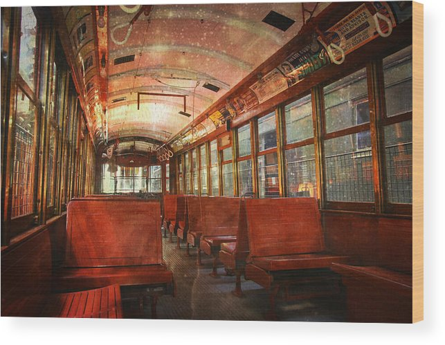 Trolley Wood Print featuring the photograph Roaming The Empty Aisles by Sheryl Bergman