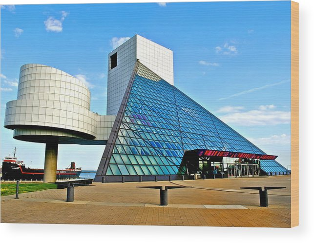 Rock Wood Print featuring the photograph Rock N Roll Hall Of Fame by Frozen in Time Fine Art Photography
