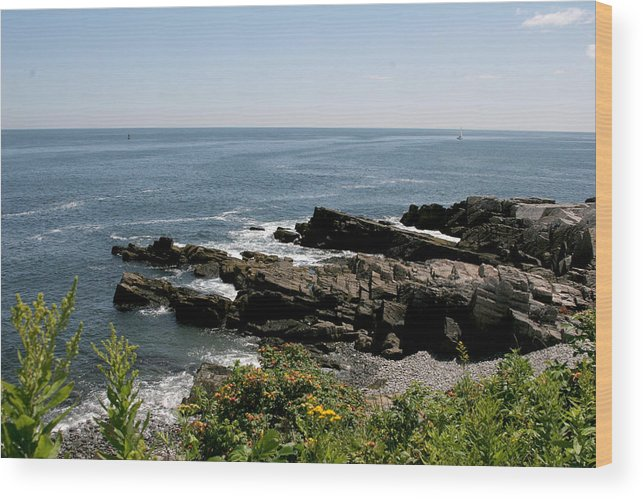 Maine Wood Print featuring the photograph Rocks Below Portland Headlight Lighthouse 4 by Kathy Hutchins