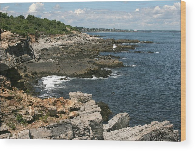 Maine Wood Print featuring the photograph Rocks Below Portland Headlight Lighthouse 5 by Kathy Hutchins