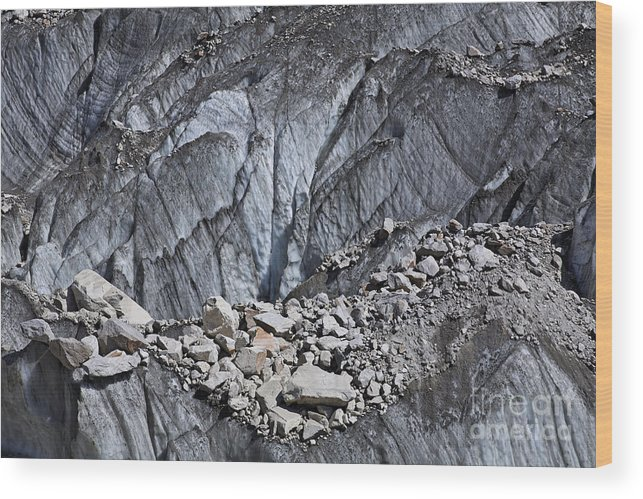 Pakistan Wood Print featuring the photograph Rocks Resting On The Ghulkin Glacier by Robert Preston