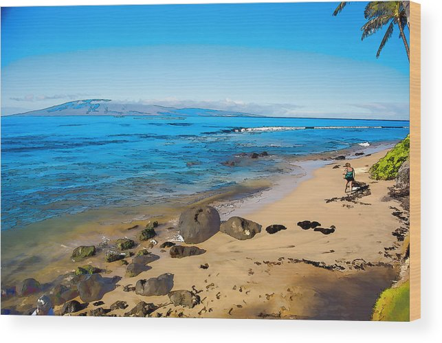 Rocky Wood Print featuring the photograph Rocky Beach by Melvin Busch