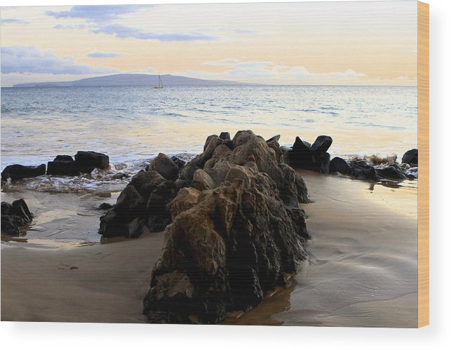 Beach Wood Print featuring the photograph Rocky Beach by Sophal Benefield