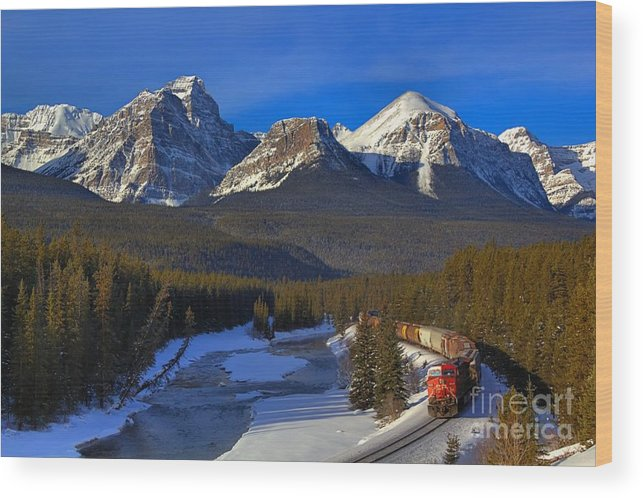 Cp Rail Wood Print featuring the photograph Rocky Train by James Anderson