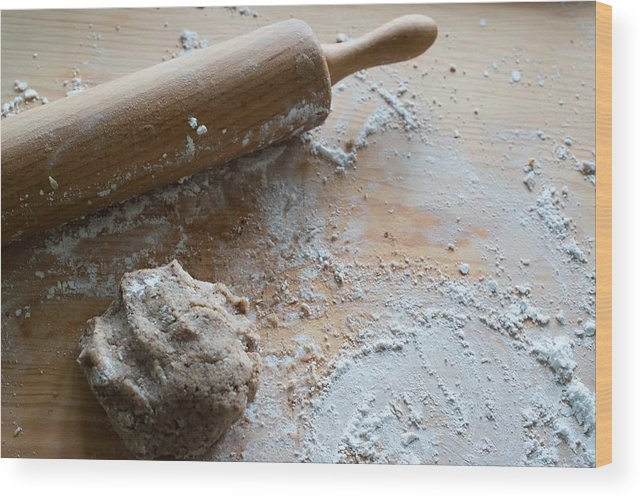 Dough Wood Print featuring the photograph Rolling Pin With Dough And Flour by Frank Gaertner