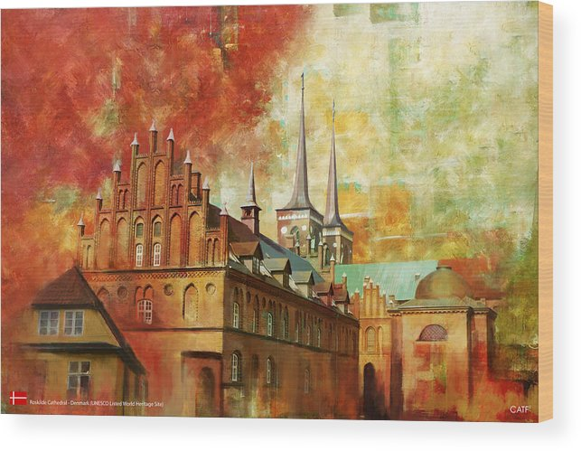 Denmark Art Wood Print featuring the painting Roskilde Cathedral by Catf