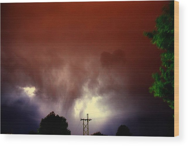 Stormscape Wood Print featuring the photograph Rounds 2 3 Late Night Nebraska Storms by NebraskaSC