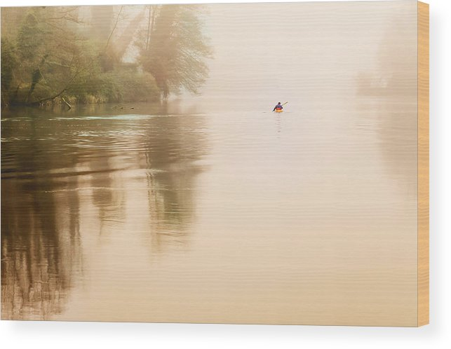 Rowing Wood Print featuring the photograph Rowing In The Mist by Alfio Finocchiaro