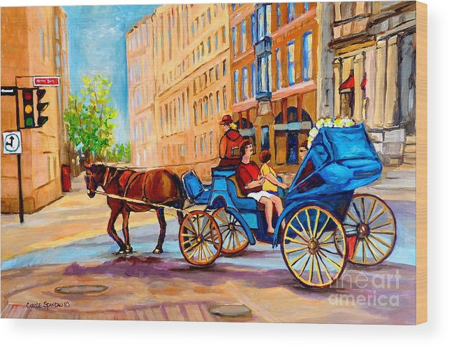 Rue Notre Dame Wood Print featuring the painting Rue Notre Dame Caleche Ride by Carole Spandau