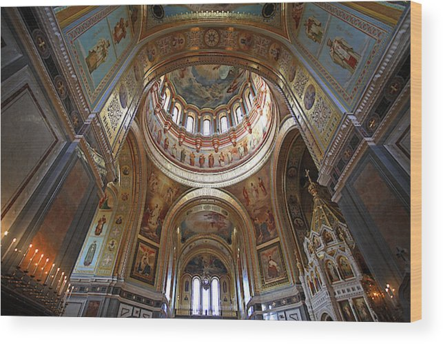 Russia Moscow Cathedral Of Christ The Saviour Interior Wood Print