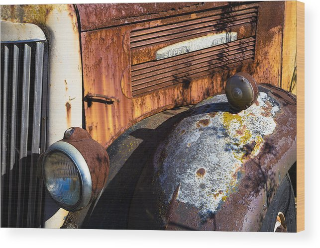 Super White Truck Wood Print featuring the photograph Rusty Truck Detail by Garry Gay