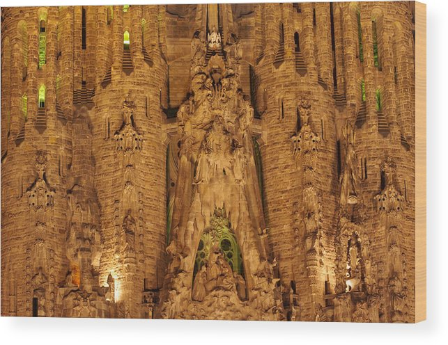 Architecture Wood Print featuring the photograph Sagrada Familia by Ioan Panaite