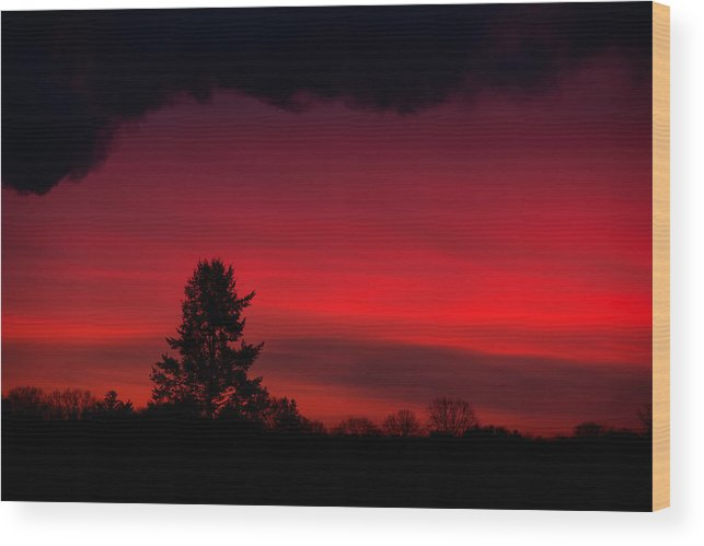 Red Sunrise Wood Print featuring the photograph Sailors Take Warning by Gavin Baker