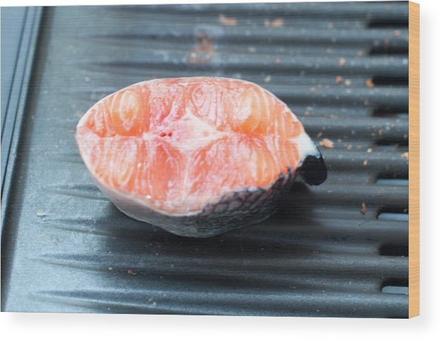 Salmon Wood Print featuring the photograph Salmon Fillet On Bbq by Frank Gaertner