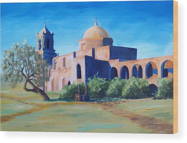 Landscape Wood Print featuring the painting San Antonio Mission by Scott Alcorn