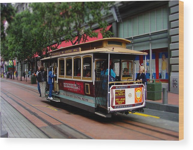 Cable Wood Print featuring the photograph San Francisco Cable Car by SFPhotoStore