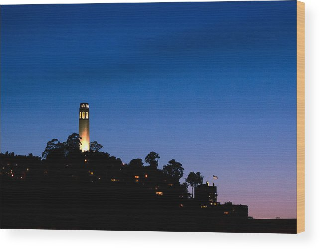 San Francisco Wood Print featuring the photograph San Francisco's Coit Tower At Night by SFPhotoStore