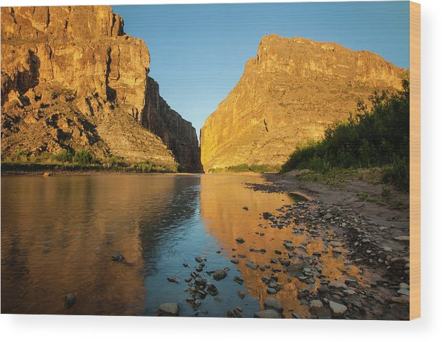 Big Bend National Park Wood Print featuring the photograph Santa Elena Canyon And Rio Grande by Larry Ditto