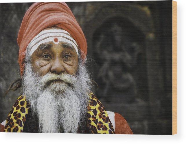 Nepal Wood Print featuring the photograph Santa Sadhu by David Longstreath