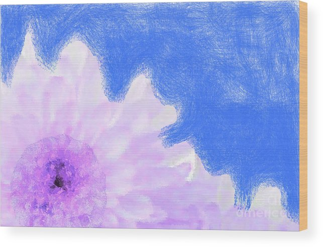 Flowers Wood Print featuring the digital art Scream And Shout Purple White Blue by Holley Jacobs