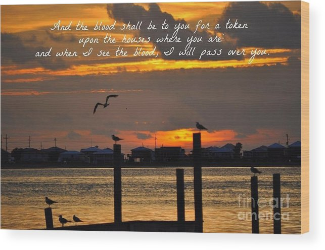 Sunset Wood Print featuring the photograph Scripture Art # 1 by Patricia Morales