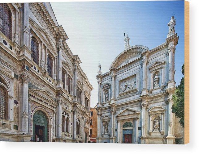 Architecture Wood Print featuring the photograph Scuola Grande Di San Rocco And San Rocco Church by Felipe Rodriguez