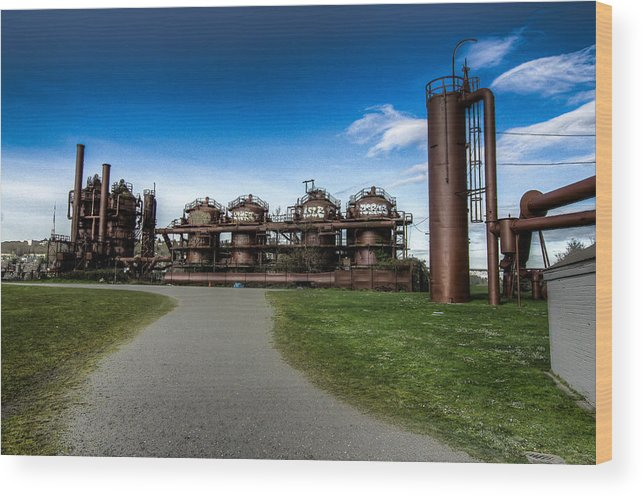 2012 Wood Print featuring the photograph Seattle Gas Light Company Gasification Towers by Puget Exposure
