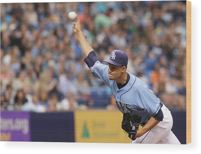 American League Baseball Wood Print featuring the photograph Seattle Mariners V Tampa Bay Rays by Brian Blanco