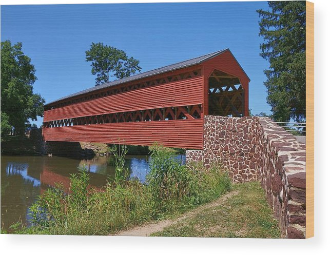 Sachs Covered Bridge Wood Print featuring the photograph Seeing Red by Lanis Rossi