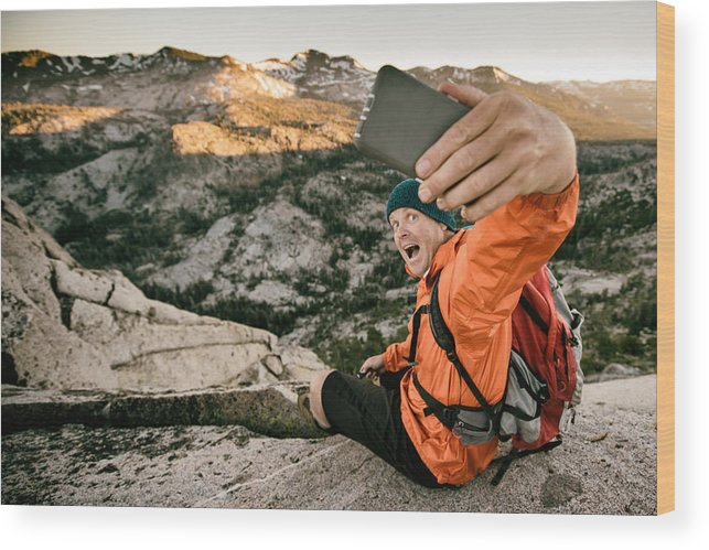 Hanging Wood Print featuring the photograph Selfie In The Backcountry by Vernonwiley