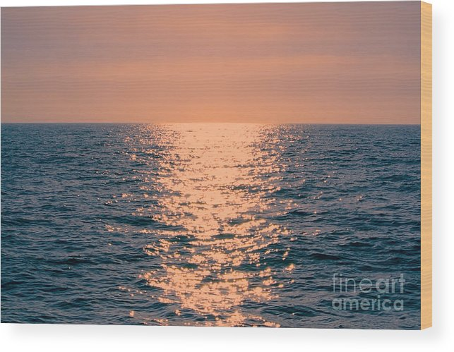 Sunset Wood Print featuring the photograph Setting Sun At Sea by Loretta Jean Photography