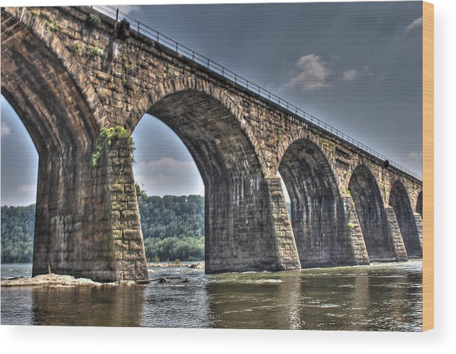 Shock Wood Print featuring the photograph Shocks Mill Bridge by David Jones