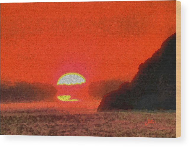 Sifnos Wood Print featuring the painting Sifnos Sunset by Laurence Canter