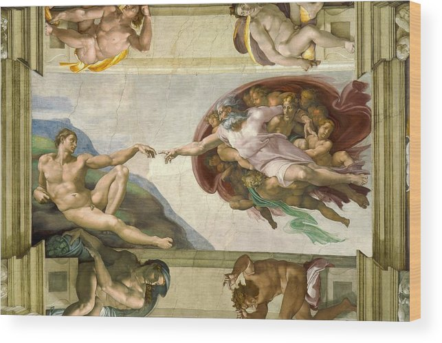 2f96f00bf68c Renaissance Wood Print featuring the photograph Sistine Chapel Ceiling  1508-12 Creation Of Adam