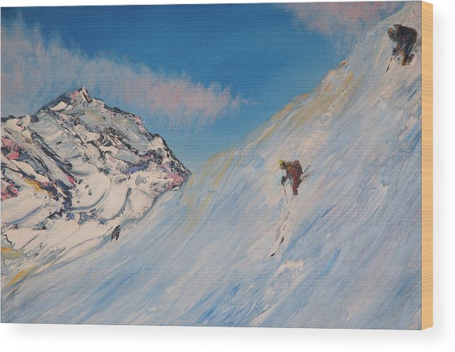 Ski Wood Print featuring the painting Ski Alaska Heli Ski by Gregory Allen Page